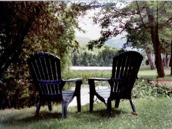 relax on adirondack chairs