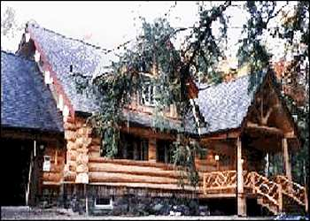 log home porch with twig work