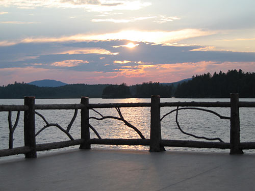 adirondack mountain view off boathouse deck