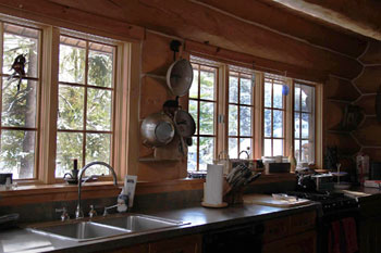 gourmet kitchen adk log home vacation rental saranac lake, ny